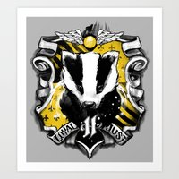 hufflepuff Art Prints featuring Hufflepuff Daddy by Jimiyo