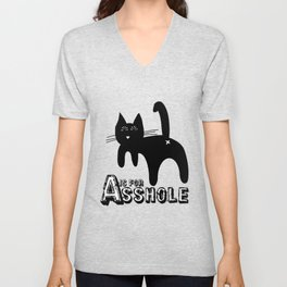 A is for ASSHOLE Cat design grunge font Unisex V-Neck