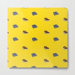Shirt & Shoe Repeat Pattern-Yellow Metal Print