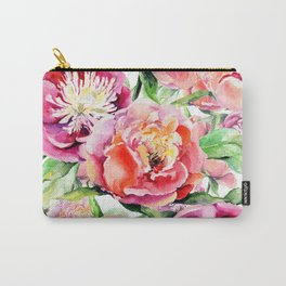 Blush pink orange green hand painted watercolor floral Carry-All Pouch