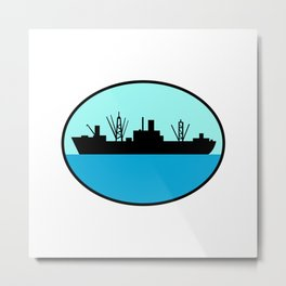 World War Two Attack Cargo Ship Retro Metal Print