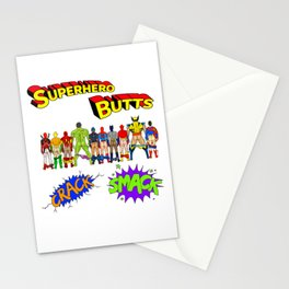 Superhero Butts Crack Smack Stationery Cards