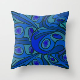Rooster in Dark Blue/Green Throw Pillow