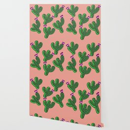 Prickly Cactus with Purple Flowers Wallpaper