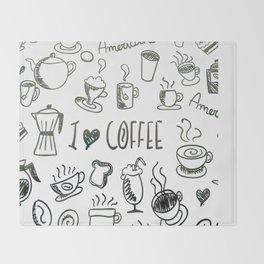 I Love Coffee Throw Blanket