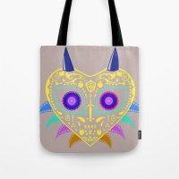majora Tote Bags featuring Dia de los Majora - Legend of Zelda by Katie Halliday