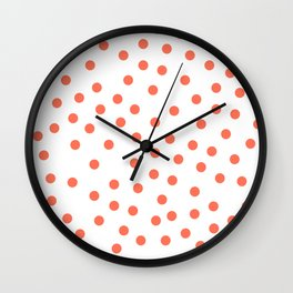 Simply Dots in Deep Coral on White Wall Clock