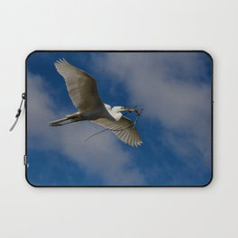 Egret In Flight With Branch Laptop Sleeve