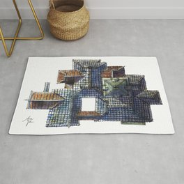 Taiwanese roofscapes 01(colored) Rug