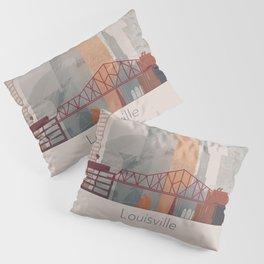 Warm Vertical Louisville skyline design Pillow Sham