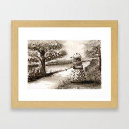 Lakeside Path in Sepia, with Dalek Framed Art Print