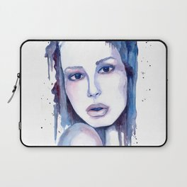 Watercolor - Woman in blue Laptop Sleeve