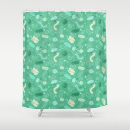 Microorganisms pattern - green Shower Curtain