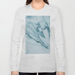 Streaked Teal Blue White Marble Long Sleeve T-shirt