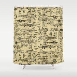 F-18 Blueprints // Tan Shower Curtain