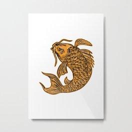 Koi Nishikigoi Carp Fish Jumping Etching Metal Print