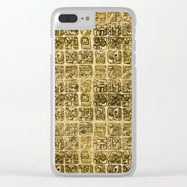 Mayan and aztec glyphs gold on vintage texture Clear iPhone Case