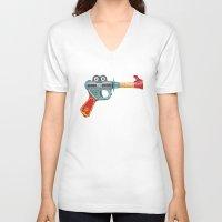 gun V-neck T-shirts featuring Gun Toy by Florent Bodart / Speakerine