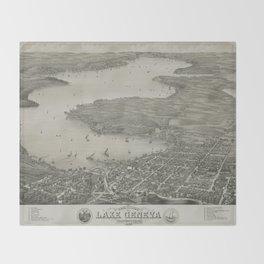 Vintage Pictorial Map of Lake Geneva WI (1882) Throw Blanket