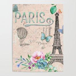 Paris - my love - France Nostalgy - pink French Vintage Poster