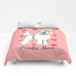 Poodle Mom in Pink and White Comforters