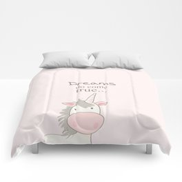 Dreams do come true art print, unicorn print, art for kids, art for baby, kids room decor Comforters