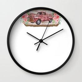 Vintage Trucks Vintage Leopard Print Pink Pickup Truck Wall Clock