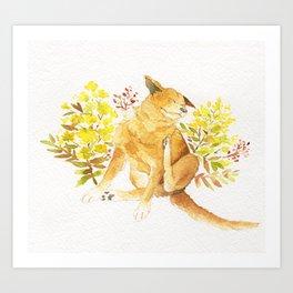 Watercolor Taiwan Dog -Yellow Art Print