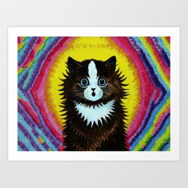 "Louis Wain's Cats ""Psychedelic Rainbow Cat"" Art Print"