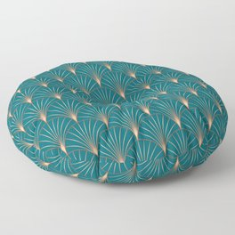 Vintage Art Deco Floral Copper & Teal Floor Pillow