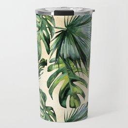 Palm Leaves Greenery Linen Travel Mug