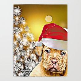 Christmas Dogue de Bordeaux Poster