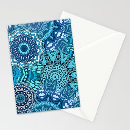 Blue Boho Mandela Pattern 5 Stationery Cards