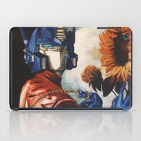 optimus prime iPad Cases featuring Optimus Prime With Sunflower by Hillary White