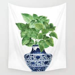 Ginger jar vase, peppermint painting Wall Tapestry