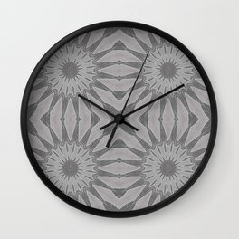 Gray Pinwheel Flowers Wall Clock
