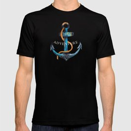 Maritime Design- Nautic Anchor on stripes in blue and red T-shirt