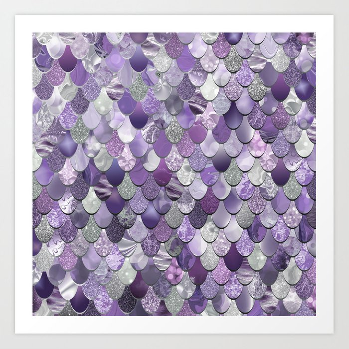 Mermaid Purple and Silver Kunstdrucke