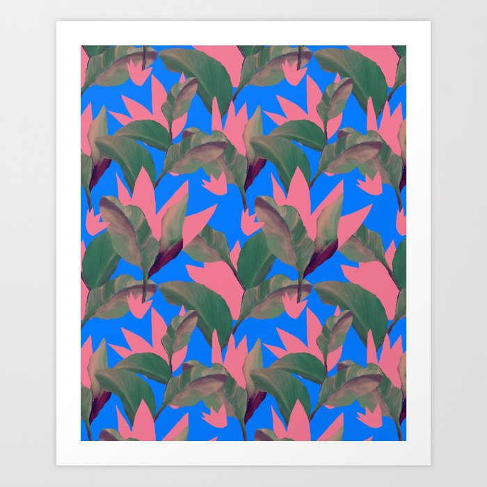 Retro Luxe Lilies Electric Blue Pattern Art Print