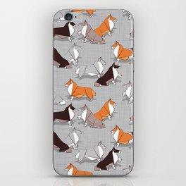 Origami Collie doggie friends iPhone Skin