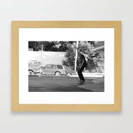 Skateboarding Giraffe Framed Art Print