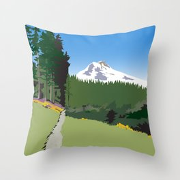 Mt Hood Meadows Hike Throw Pillow