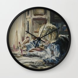 Young artist Print Original Oil Painting On Canvas Cozy Home Wall Clock