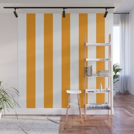Kumquat orange - solid color - white vertical lines pattern Wall Mural
