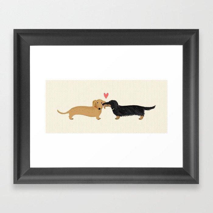 Cute Wiener Dogs with Heart | Dachshunds Love Gerahmter Kunstdruck
