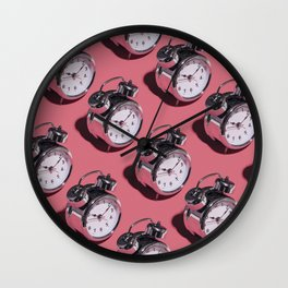 Don't Be Late! - Kitschy Clocks on Pink Wall Clock