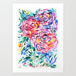 Abstract Roses 1 Art Print