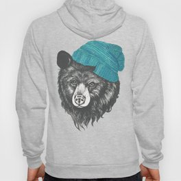 bear in blue Hoody