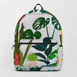 Plants on the Shelf in Gray + White Wood Backpack