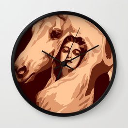 Strength and beauty, woman and horse Wall Clock